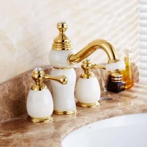 Fahshion European jade basin faucet retro Hot and Cold three hole faucet bathroom sink double tap XR8215