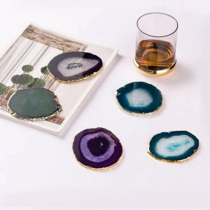 Natural Agate Piece Gold Edge Coaster Coffee Cup Pad Jewelry Display Support Size 8~10cm