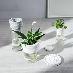 Natural Marble Vase Glass Vase Desk Top Decor Luxury Design Creative Idea Fish Tank Restaurant Bar Decor
