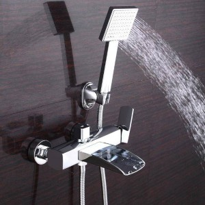 New Bathtub Faucets Chrome Brass Shower Set Bathtub Mixer Tap Single Handle Dual Contral Shower Wall Mounted For Bathroom XT355