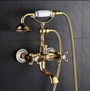 New Bathtub Faucets Luxury Gold Brass Bathroom Faucet Mixer Tap Wall Mounted Hand Held Shower Head Kit Shower Faucet Sets XT358