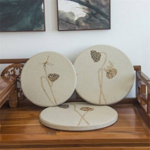 New linen fabric sponge Cushion creative Lotus leaf Round Cushion Bay window Pad solid wood Sofa Decorative cushions