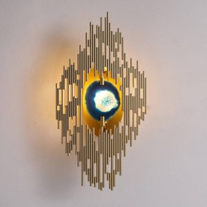 New classical agate wall lamp Plated metal gold wall mounted light home foyer corridor lighting G9 led wall sconce