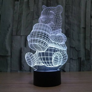 New Creative 3D illusion Lamp,Acrylic 7 color changing Winnie the Pooh shape LED Night Lights usb Novelty Lighting table Lamps