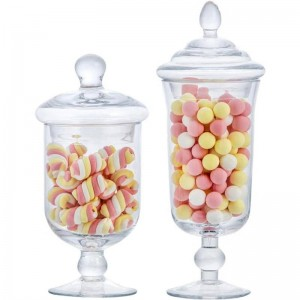 New glass candy jar creative with lid storage tank storage bottle wedding dessert ice cream cup window decoration Cans