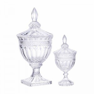 New high-end candy cans hotel wedding dessert storage pavilion table table window decoration high-foot cover glass jar ornaments