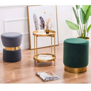 New Household Low Foot Stool Circular Small Metal Bench Revivalism Kids/Children Chair Living Room Small Tea Table Sofa Fabric