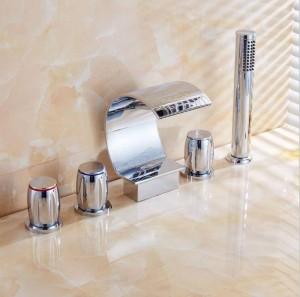 5 pcs Bathtub Faucet Chrome waterfall spout Mixer Taps Chrome Brass Bathroom Shower Faucet with Handshower XR8217