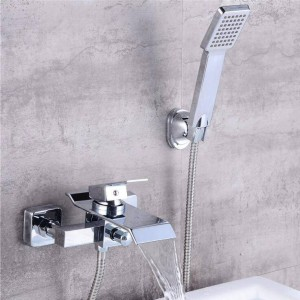 Bathtub Faucets Chrome Brass Shower Set Bathtub Mixer Tap Single Handle Shower Wall Mounted For Bathroom XT356