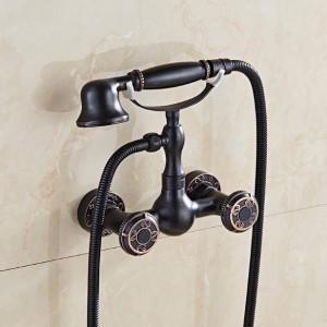 Bathtub Faucets European retro American Antique Copper shower set black wall mounter hand shower bathtub faucet XT389