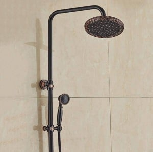 """New Wall Mounted 8"""" Rain Bathroom Shower Set Faucet Black Bronze Siglel Handle Shower Hot and Cold Taps with Handshower XT395"""