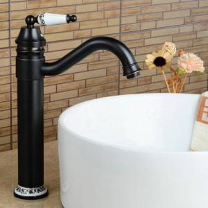 Newly Blackend Bathroom Faucet 360 Swivel Basin Faucet Brass Mixer Tap Waterfall Faucets 9883BP