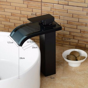 Newly Blackened Bathroom Faucet Basin Faucet Mixer Tap Faucets Waterfall Glass Hot Cold Mixer Crane
