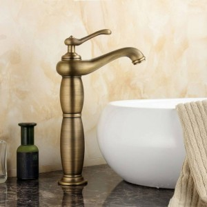 Newly High Antique Brass Brushed Bathroom Basin Faucet Mixer Tap Sprayer Tap