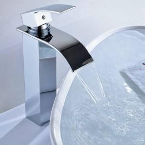 Nickel Brush Waterfall Hot Cold mixer tap chromed brass chrome/brush/black Bathroom Basin faucet