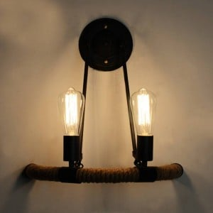 Nordic 2 heads E27 hemp rope wall lamp creative hotel restaurant cafe aisle stair half circle wrought iron wall sconces
