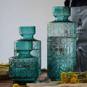Nordic Blue Green Creative Embossed Glass Vase Living Room Hotel Soft Wedding Flower Arranger Vase Decoration Home