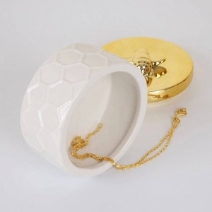 Nordic ceramic jewelry box golden storage tank simple princess decorative ornaments Wedding Ring Trinket Box Earring Storage Box