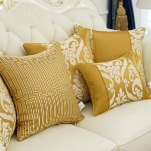 Nordic Cushion Cover Flower Texture Europe Patchwork Jacquard Throw Decorative Pillows Car/Pillow Cover Housse De Coussin Yellow