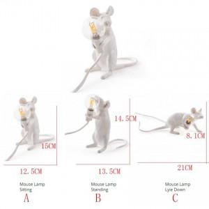 Nordic Desk Lamp Mouse Resin EU/USA Plug Rat Table Lamp Light Desk Light Kids Gift Animal Table Light 1-5m Wire Table