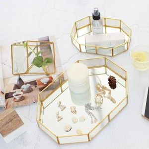 Nordic glass jewelry box creative makeup desktop ring storage tray room decorations tray display box