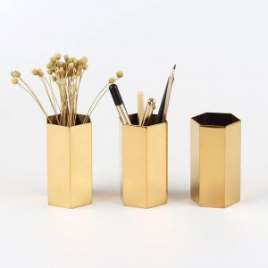 Nordic Hexagonal Pen Holder Stainless Steel Hexagonal Floral Gold Insert Vase Metal Storage Rack Decoration