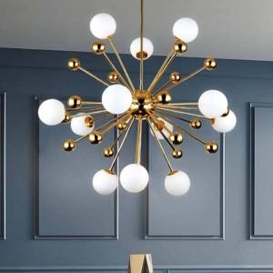 Nordic LED gold pendant light post-modern creative dandelion hanglamp white glass ball dining room kitchen suspension luminaire