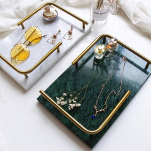 Nordic Light Luxury Natural Marble Rectangular Tray Jewelry Perfume Beauty Induction Tray Bathroom Tray