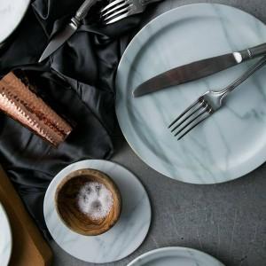Nordic marble texture plates 23cm/18cm dinner plates tray salad bowl dishes bandejas ceramic plates