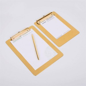 Nordic Metal Gold Office Table Storage Tray with Clip Scandinavian Vogue Office File Note Desk Storage Pad Organizer Decor