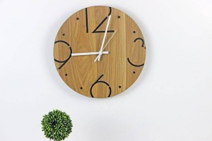 Nordic minimalist fashion round wooden wall clock Living room bedroom study mute wall clock Wall clocks Wall decoration