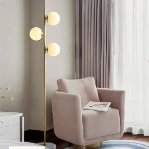 Nordic Modern LED Ball Copper Living Room Household Study Floor Lamp Bedroom Home Deco Glass Lampshade Floor Light Fixtures