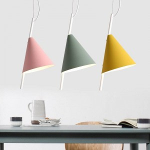 Nordic modern minimalist foyer pendant light iron art creative personality Macarons restaurant yellow pink green LED lighting