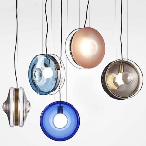 Nordic modern simple dining room Chandeliers bar foyer round glass droplight bedroom coffee shop creative LED stained glass lamp