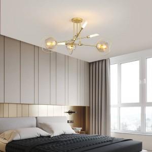 Nordic Post modern Foyer dining room Chandelier Gold luxury 6/8 heads molecule model droplight LED E27 G9 bulb Lighting fixture