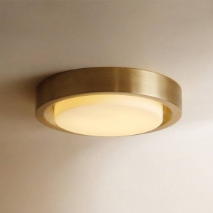 Nordic round all copper ceiling lights gold luxury foyer bedroom dining room American ceiling lamps LED ceiling mounted lamp