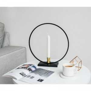 Nordic round simple black candlestick home decoration table model room candlelight dinner decoration