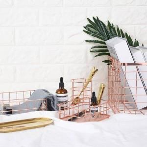 Nordic Simplicity Style Rose Gold Metal Iron Storage Basket Combination Holder Desk Desktop Accessories Stationery Organizer