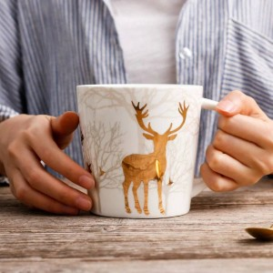 Nordic Style Ceramic Mug Golden Deer Plating 550ML Morning Mug Milk Coffee Tea Breakfast Porcelain Drinkware Cup Kitchen Tools