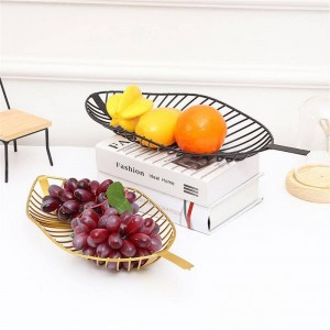 Nordic Style Iron Tray Leaf Shaped Fruit Basket Simple Candy Snack Storage Basket Kitchen Living Room Table Fruit Plate Decor
