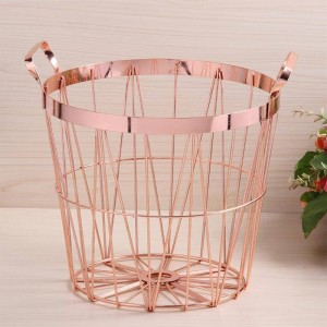 Nordic Style Rose Gold Storage Basket Wrought Iron Kitchen Clear Up Laundry Basket With Handle