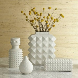 Nordic Style White Geometric Ceramic Vases Simple Modern Home Model Room Living Room Flowers Ornaments Ornaments