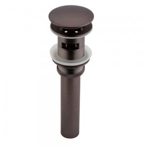 Oil Rubbed Bronze Push Popup Drain Assembly with Overflow for Bathroom Sinks