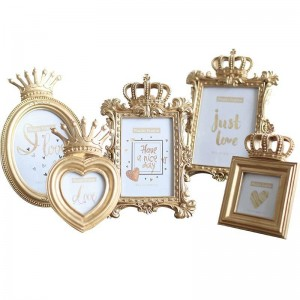 Original Embossed Creative Nordic Photo Frame Gold Resin Table 3 Inch 6 Inch 7 Inch Photo Frame Crown Photo Frame 5 Piece Set