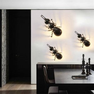 Outdoor Insects LED Ant Spider Beetle Wall Lamps Interesting Animal LED Wall Lights Black Iron Wall Lamps Wall Luminaire Bracket