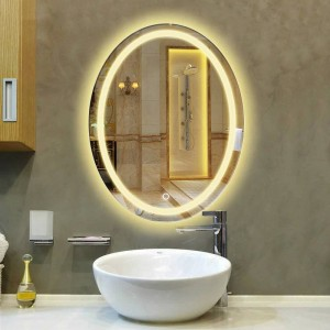 Oval bathroom LED lamp mirror wall hanging bathroom with light makeup mirror modern Touch switch bath mirror mx12151130