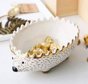 Pack of 4pcs Hedgehog bowl snack tray dessert bowl kids storage bowl organizer box ceramic cartoon bowl