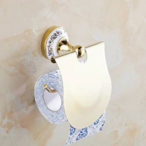 Paper Holder Metal Chrome Silver Toilet Roll Paper Towel Holder Blue & White Porcelain Bathroom Accessories Wall Mount ST-6708
