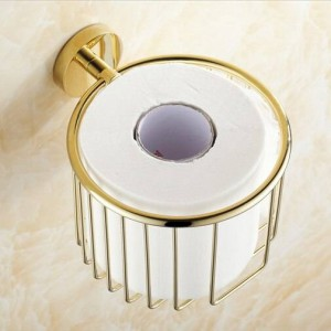 Paper Holders Brass Gold Finish Toilet Paper Roll Holder Bath Shelf Shower Storage Basket Euro Wall Mounted Fitting Rack KH-8685