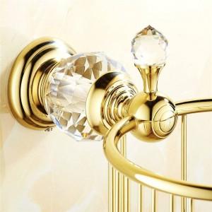 Paper Holders Gold Crystal Wall Mounted Bathroom Accessories Toilet Paper Holders Black Bathroom WC Basket Tissue Holder HK-35